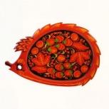 Тарелка поднос деревянный с хохломской росписью ежик 280*190, Самара
