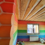 Герметизация швов в деревянном доме, теплый шов, Самара