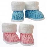 Очаровательные детские пинетки-сапожки с плюшевым отворотом. Три цвета, Самара