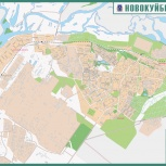 Новокуйбышевск. Карта настенная, Самара